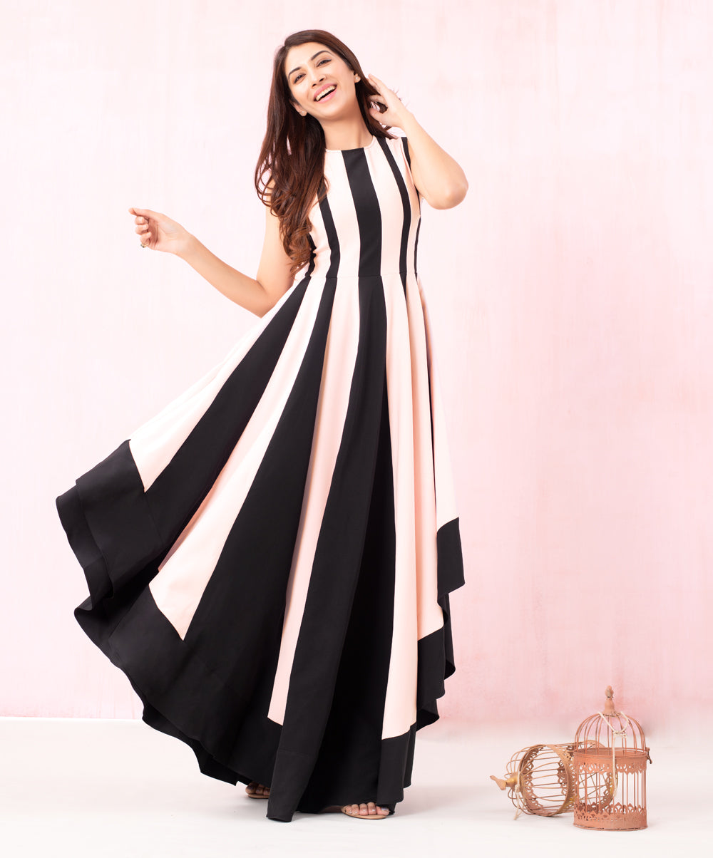 Pink And Black High Low Panel Maxi