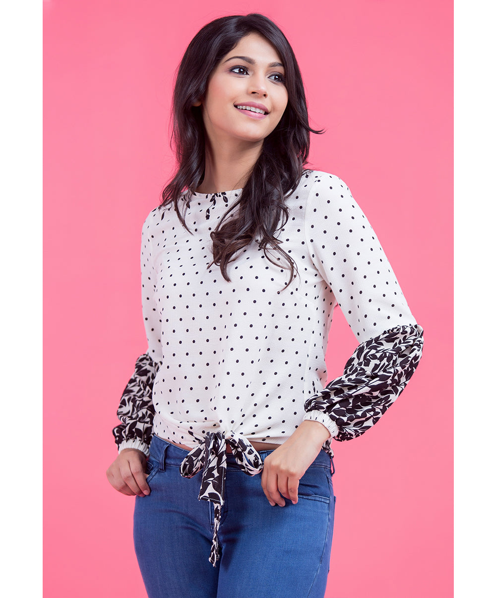 White Verna Printed Waist Tie Top