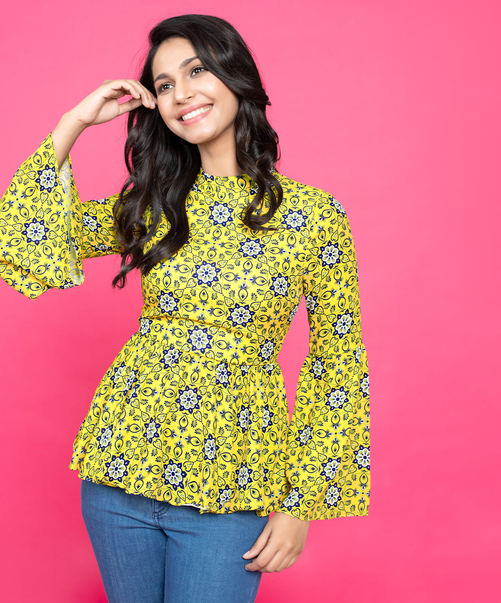 Mustard And Blue Printed Sleeve Flared Top