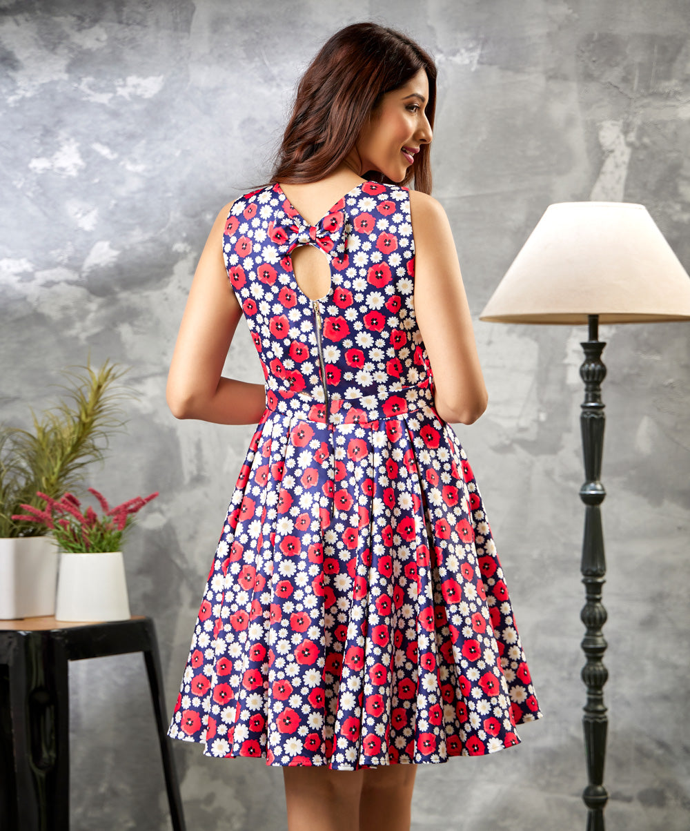 Back Bow Printed FDY Dress