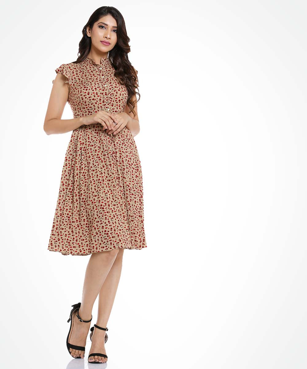 Beige Red Floral Printed Buttoned Dress