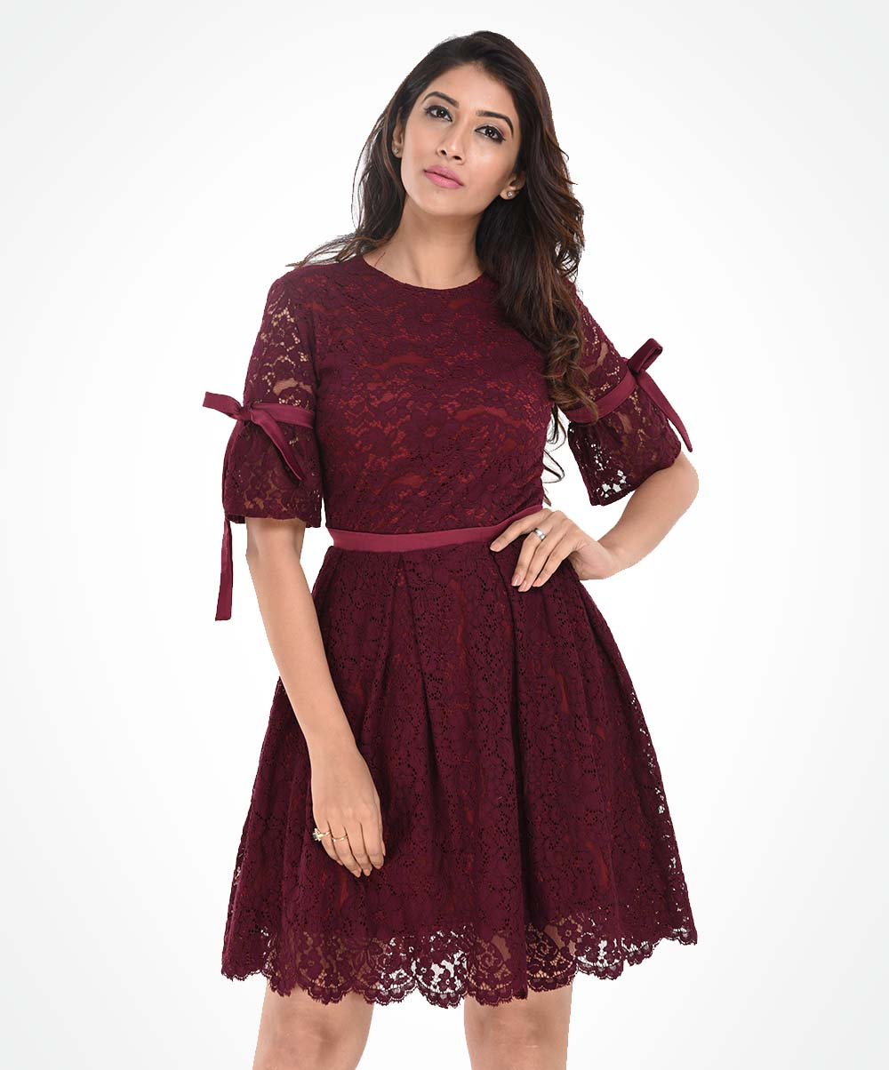 Magenta Lace Pleated Dress
