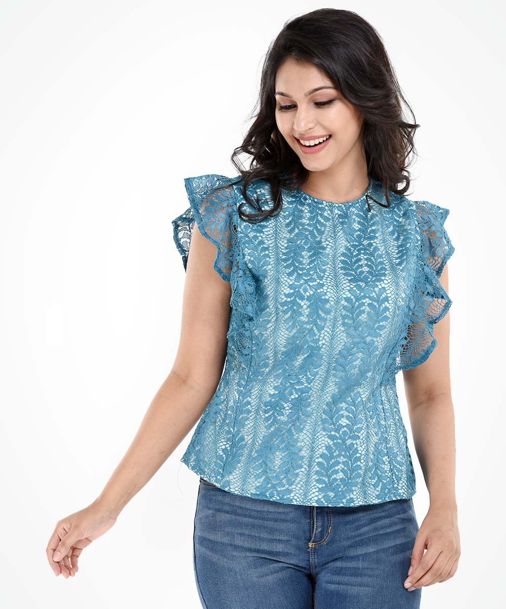 Skylar Sea Green Frill Lace Top