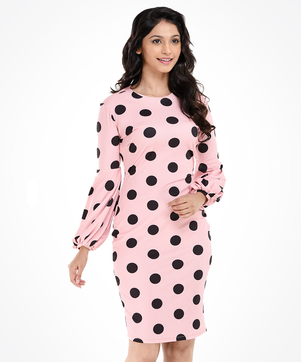 Pink Base Polka Dot Dress
