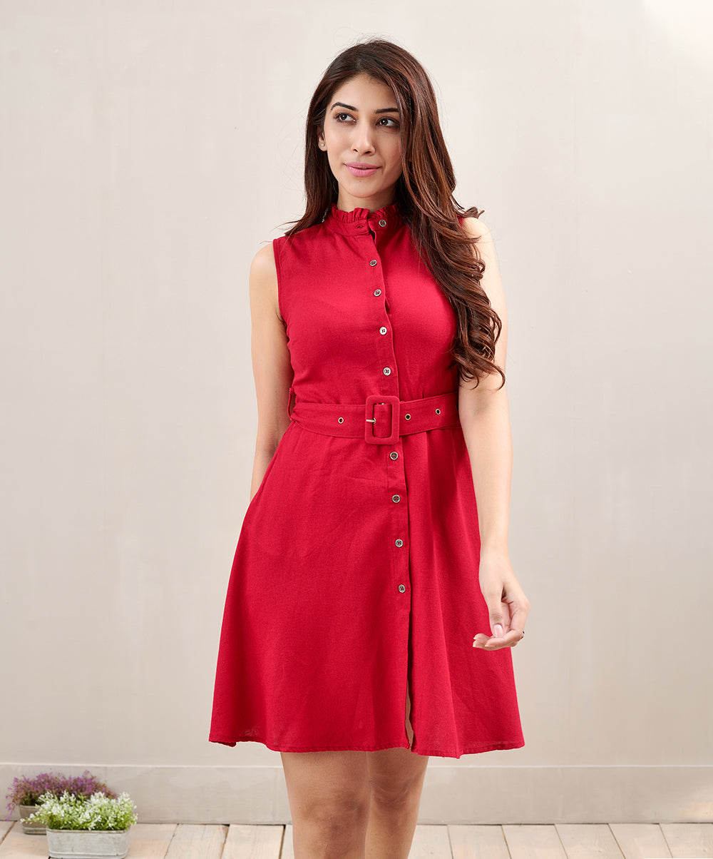 Self Belted Shirt Dress