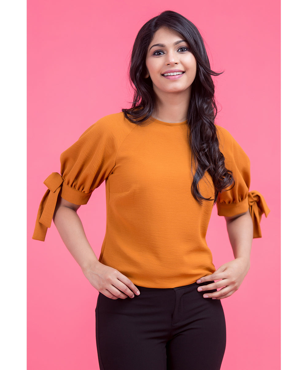 Orange Cyrilla Sleeve Tie Up Solid Top