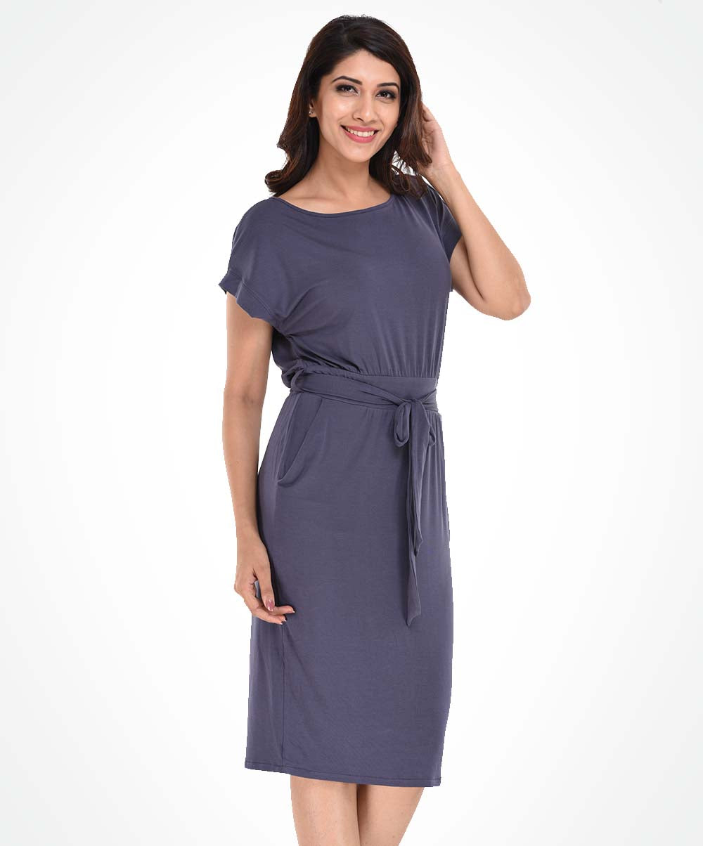 Grey Waist Tie Knit Dress
