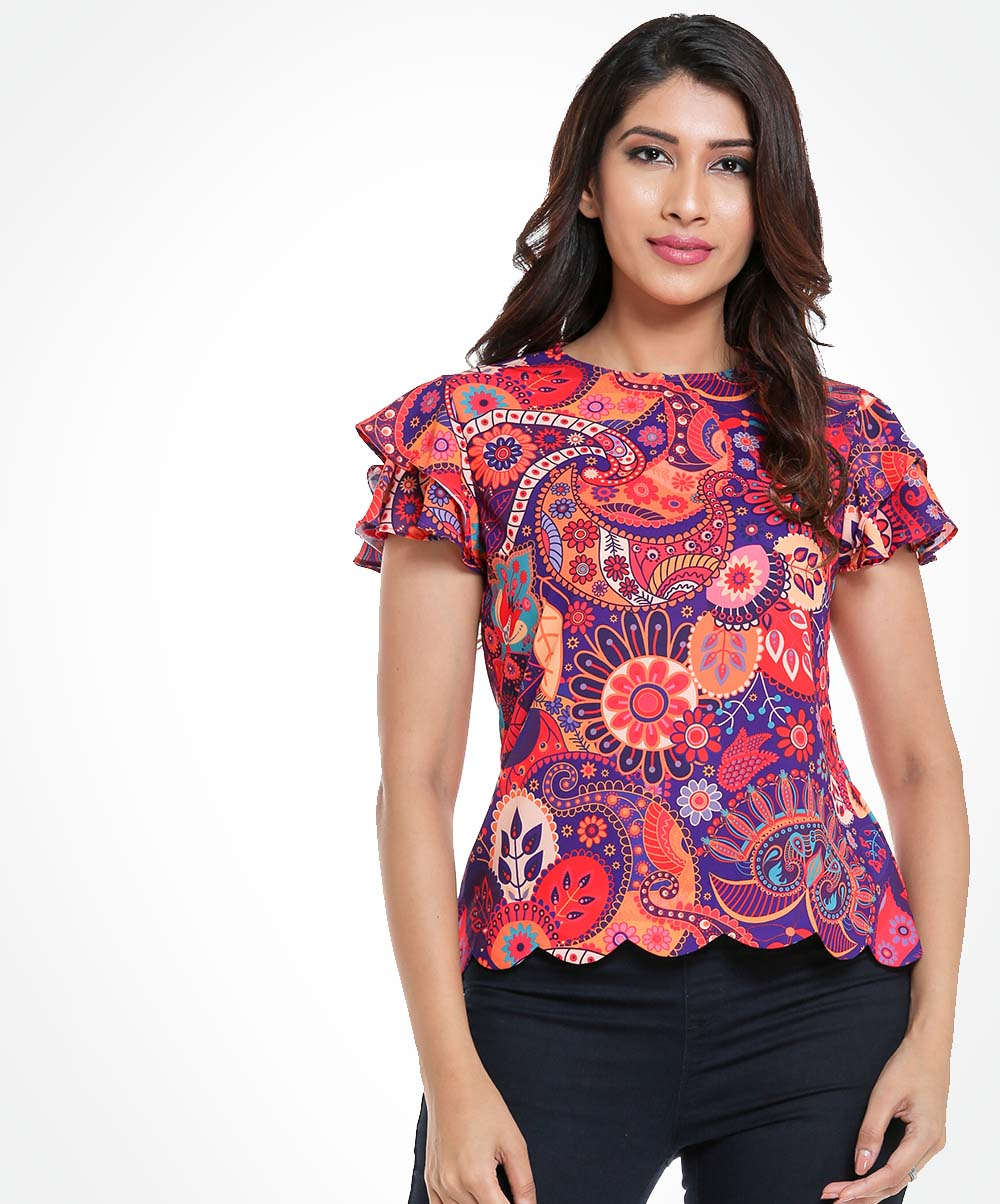 Frilled Sleeve Printed Top