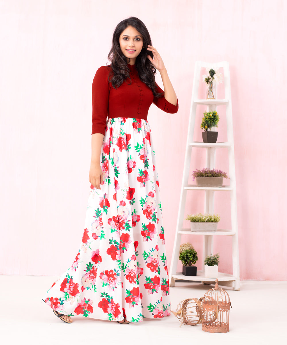 Ponte Mixed Floral Printed Maxi Dress