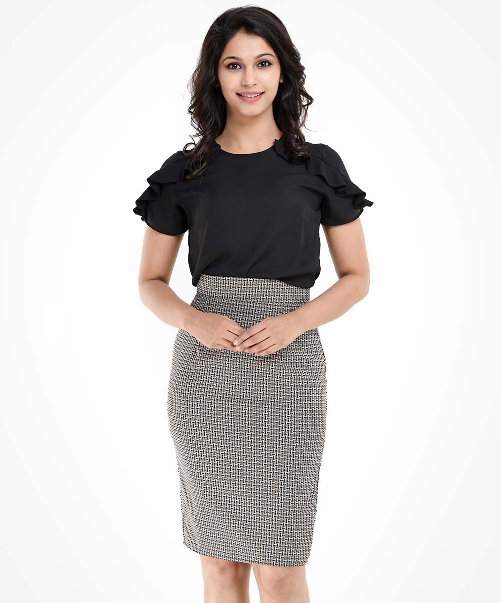 Lydia Printed Knee Length Workwear Skirt
