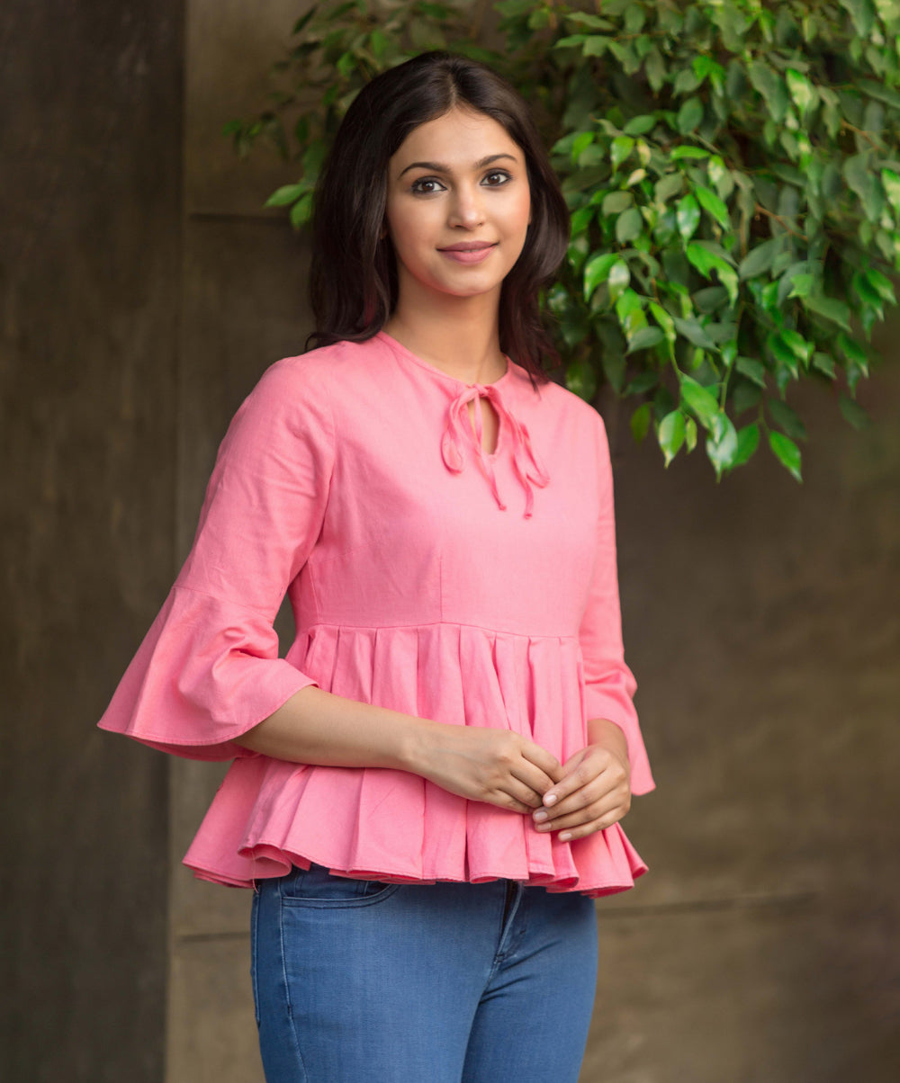Pink Maya Neck Tieup Peplum Top