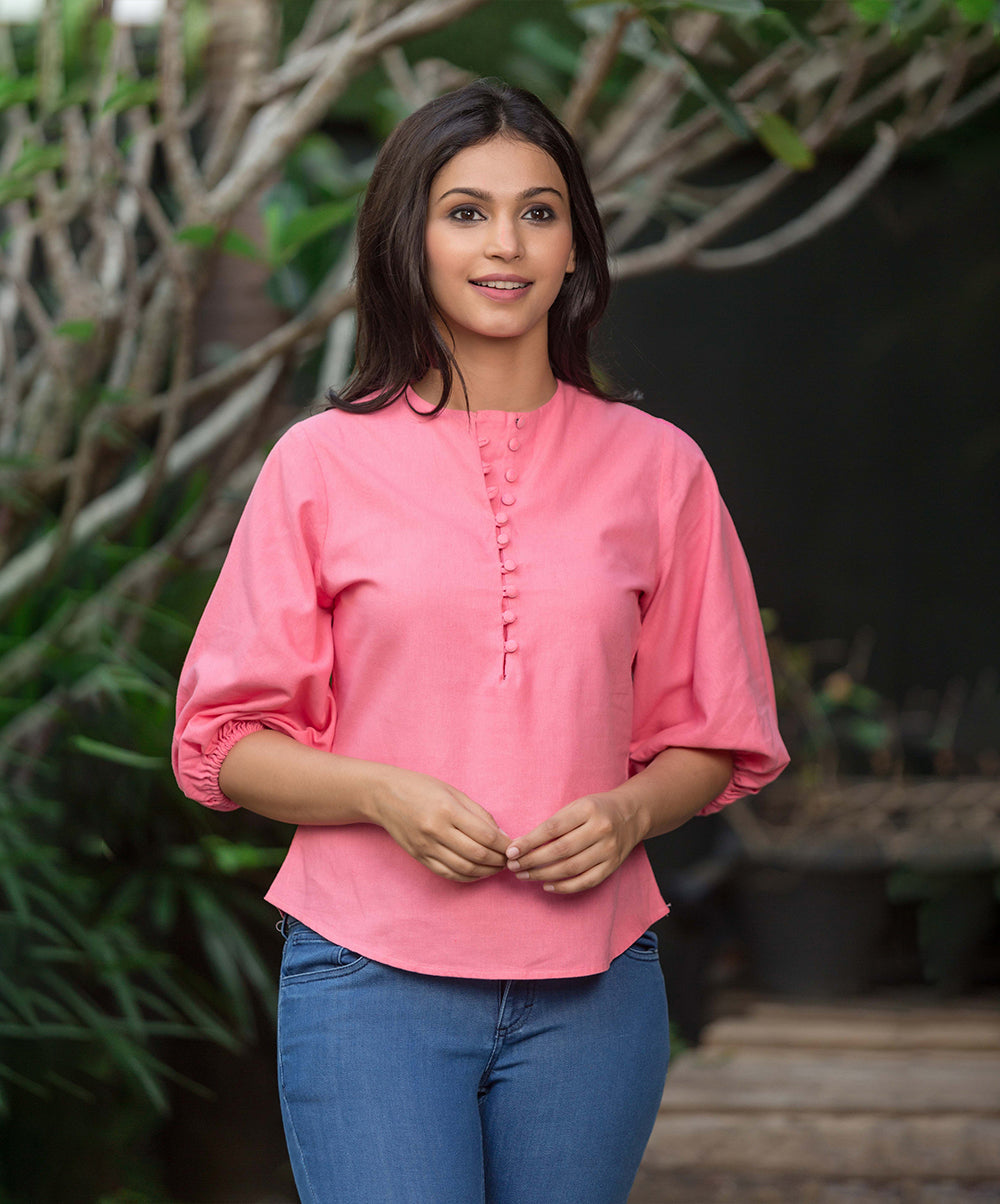Pink Brisa Button Detailed Linen Top
