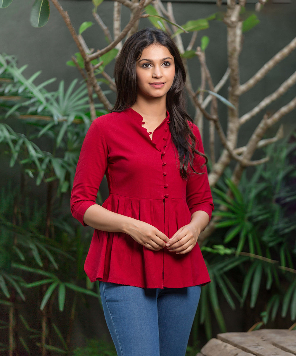Button Opening Red Linen Peplum Top