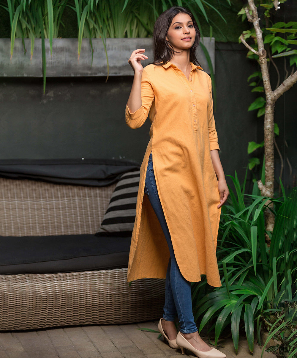 Ashley Half Placket Mustard Linen Tunic Top