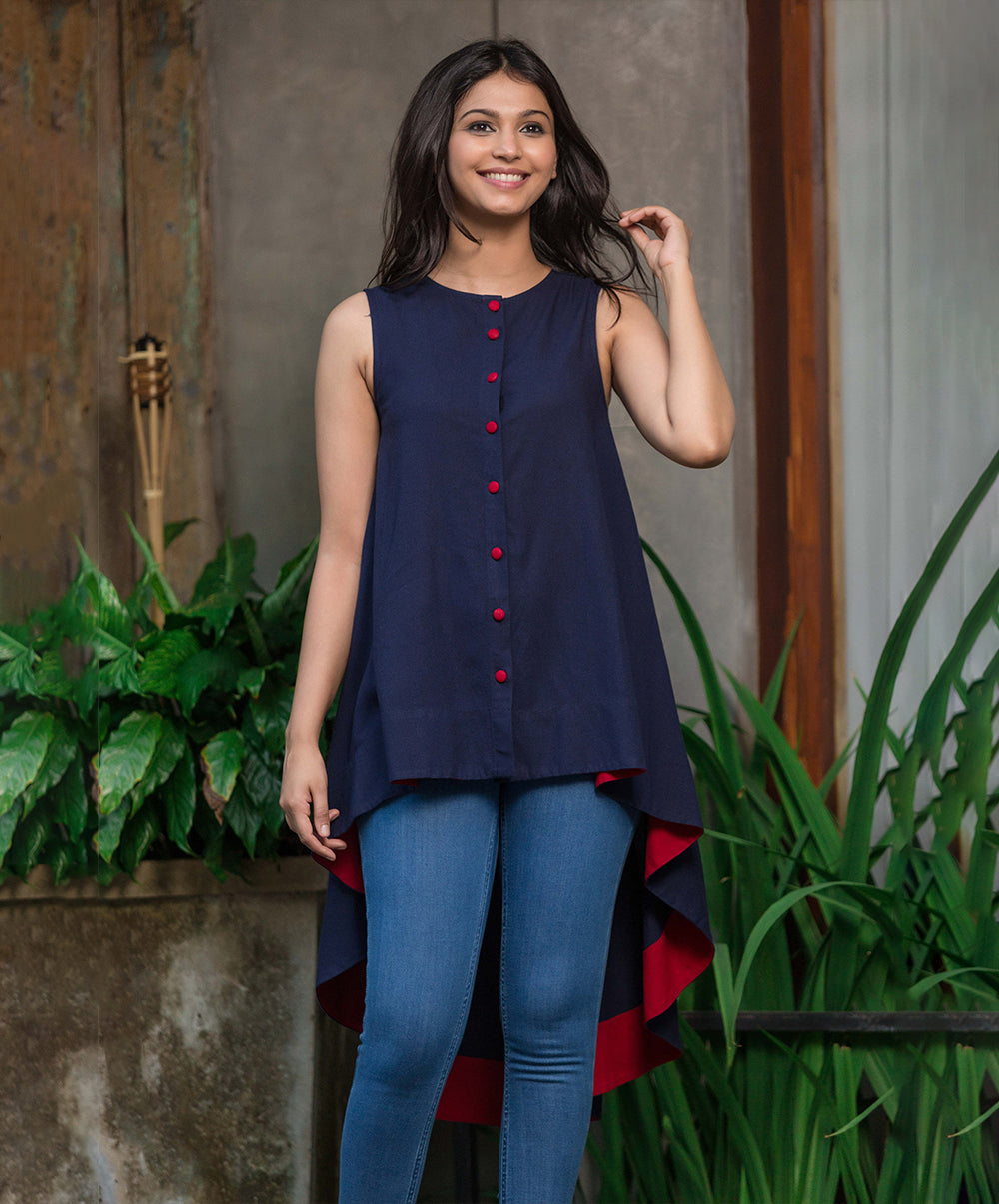 Red Buttoned Melina High Low Blue Linen Top
