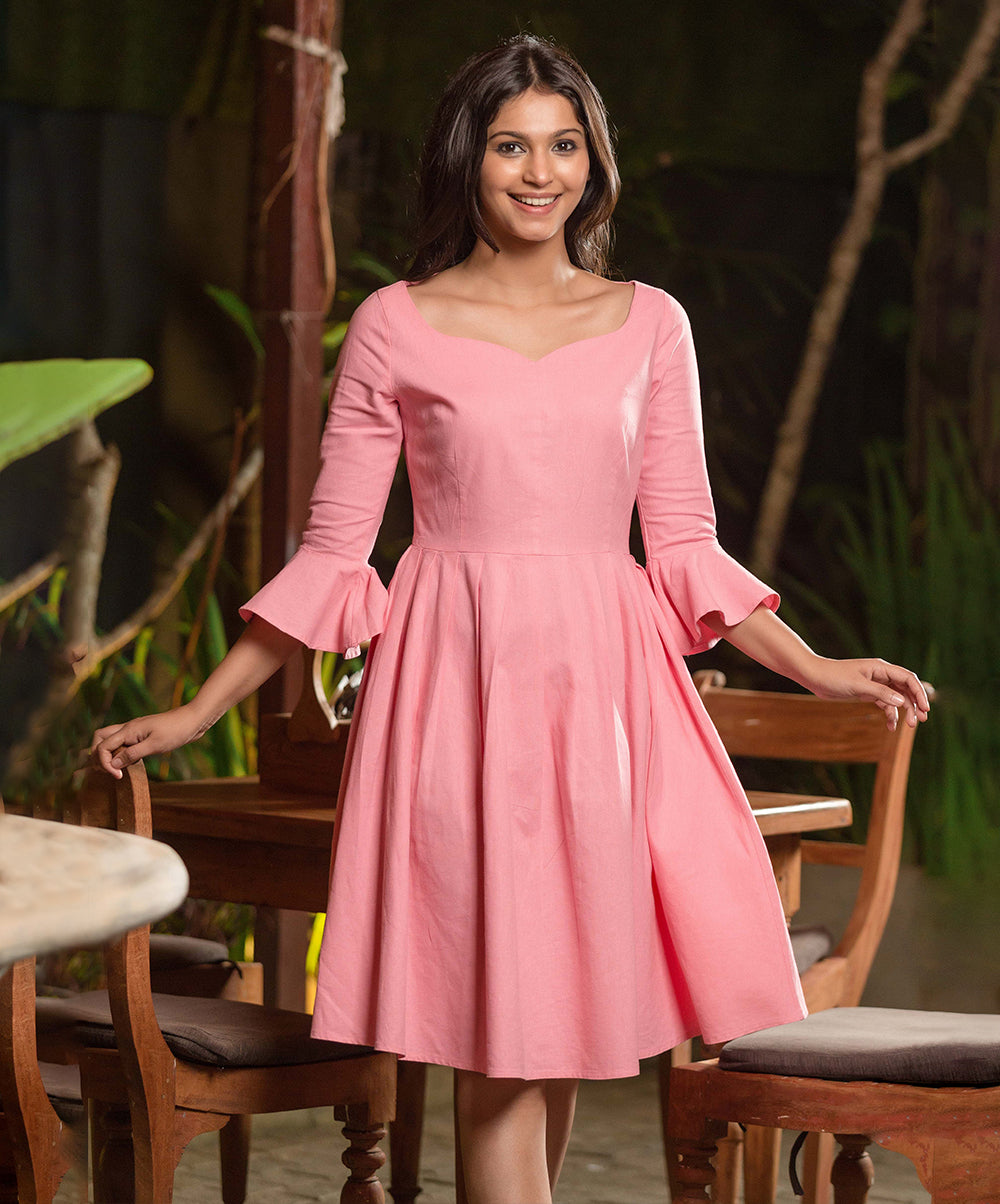 Arianna Pink Flared Sleeve Linen Dress