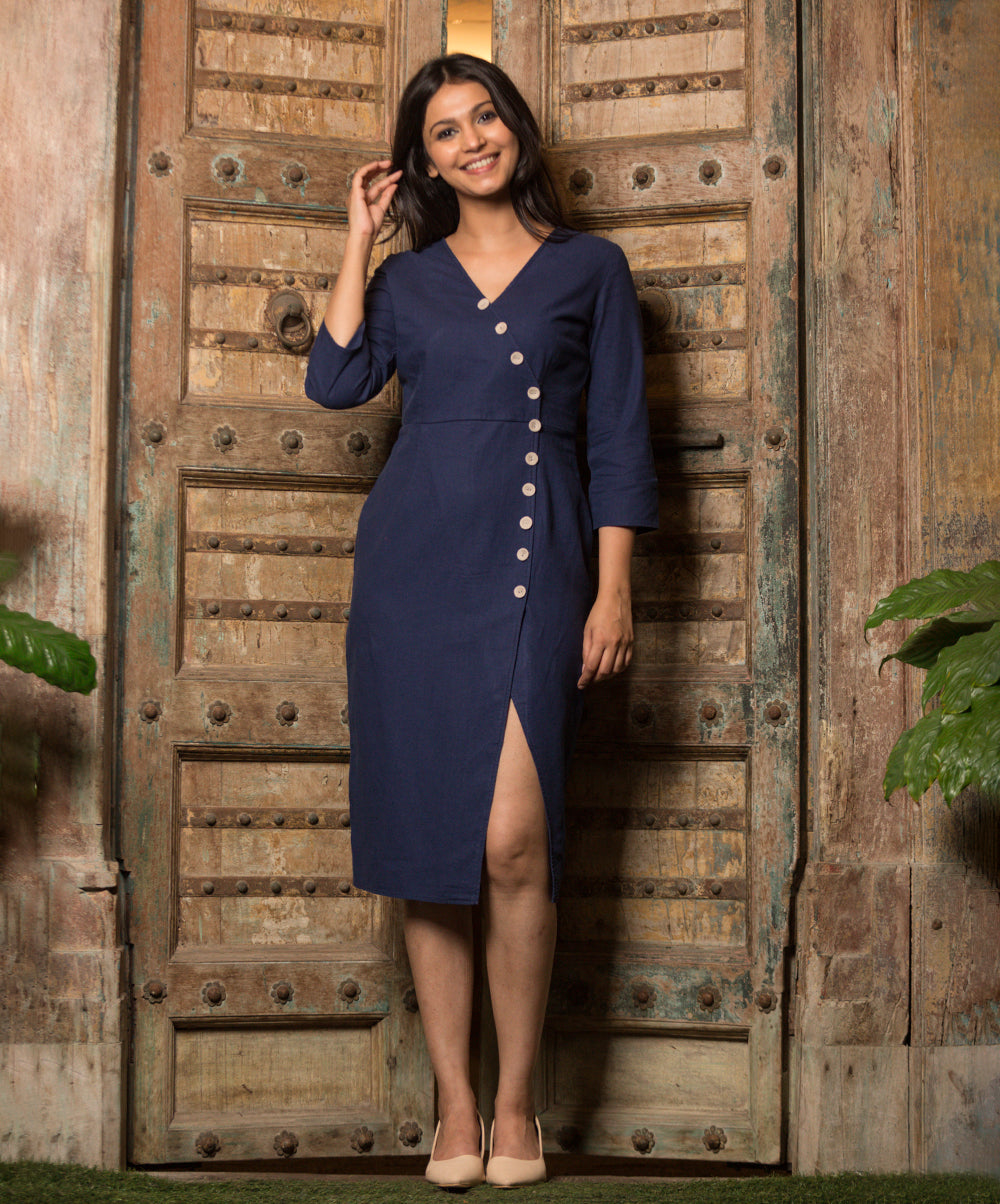 Navy Blue Arraceli Button Detail Linen Dress