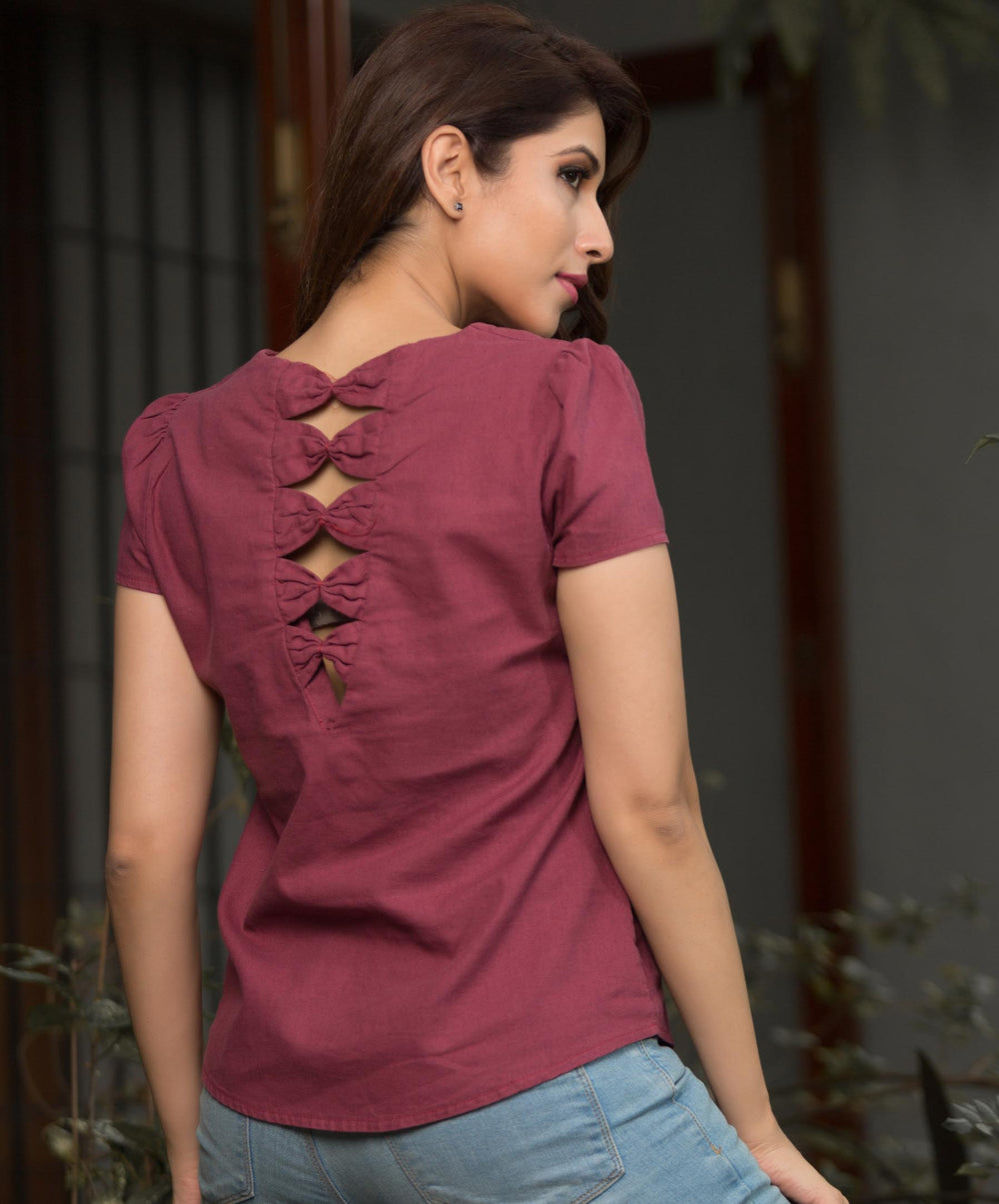 Peyton Maroon Back Bow Linen Top