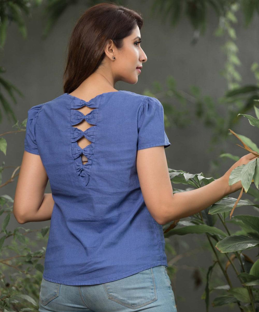 Peyton Blue Back Bow Linen Top