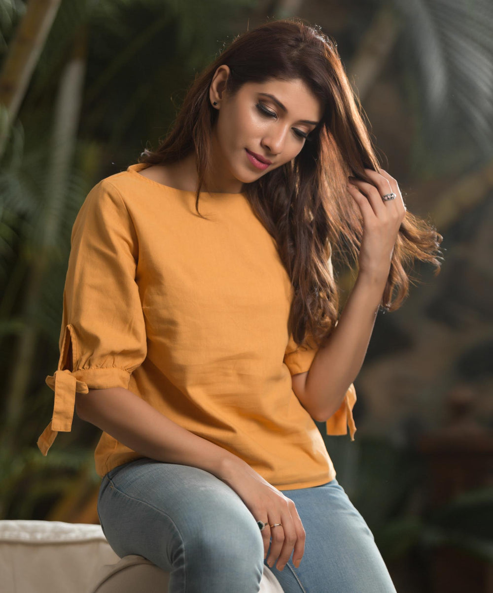 Mustard Zuri Tie Up Linen Top
