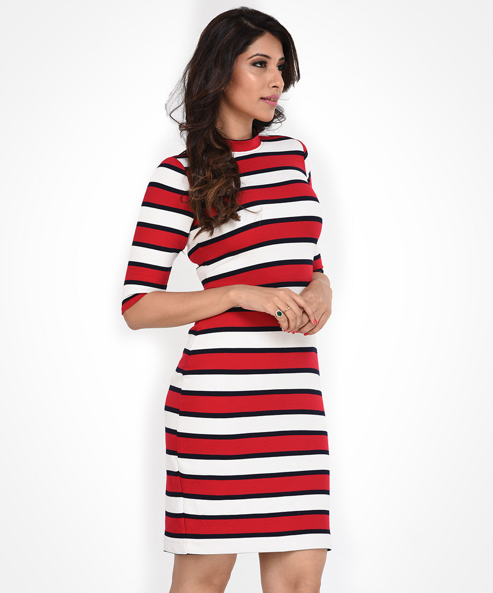 Red & White Stripe Knit Dress