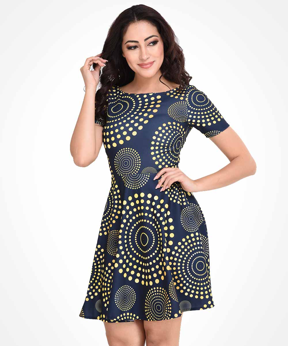 Yellow & Navy Blue Printed Dress