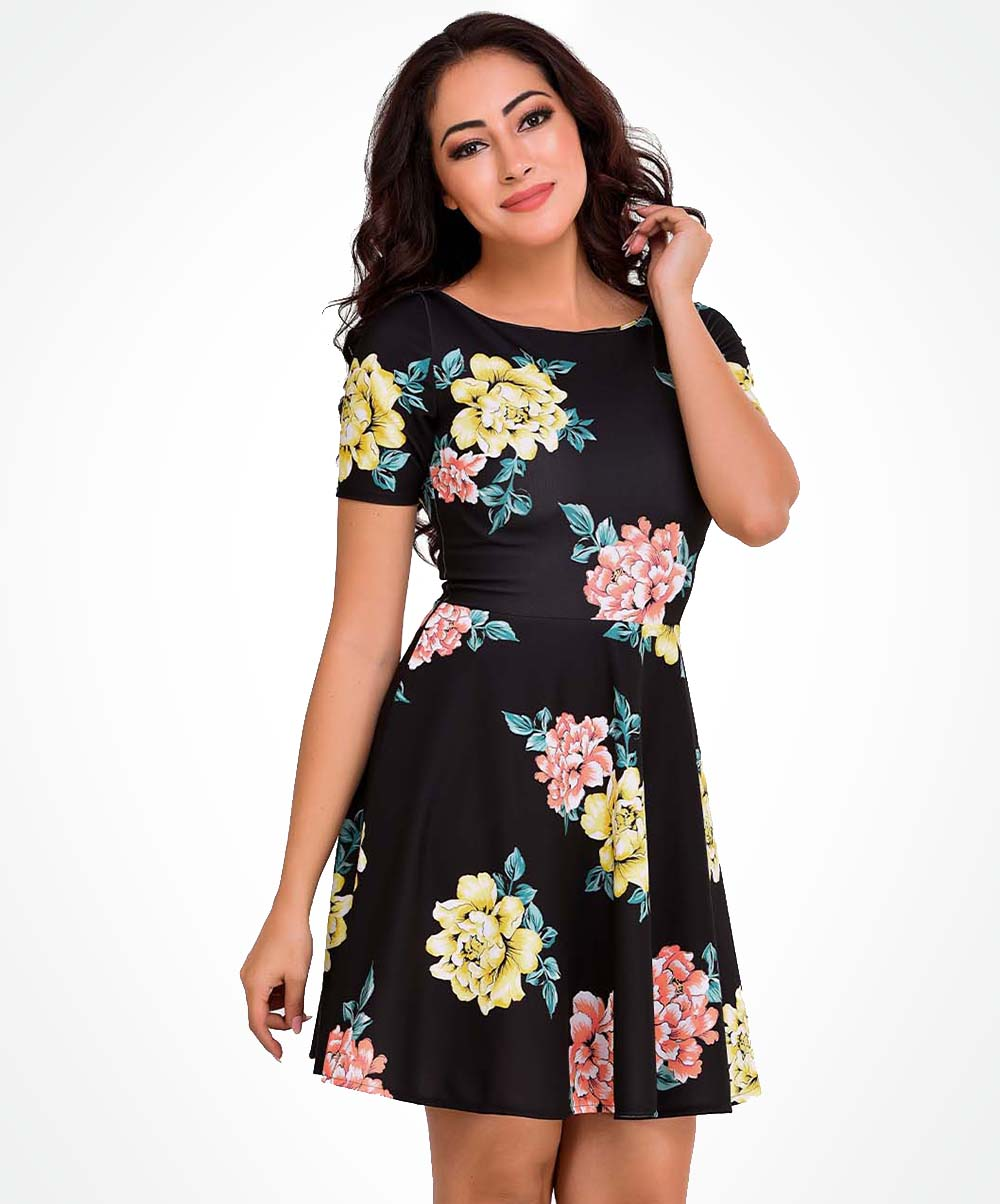 Black Base Floral Printed Dress
