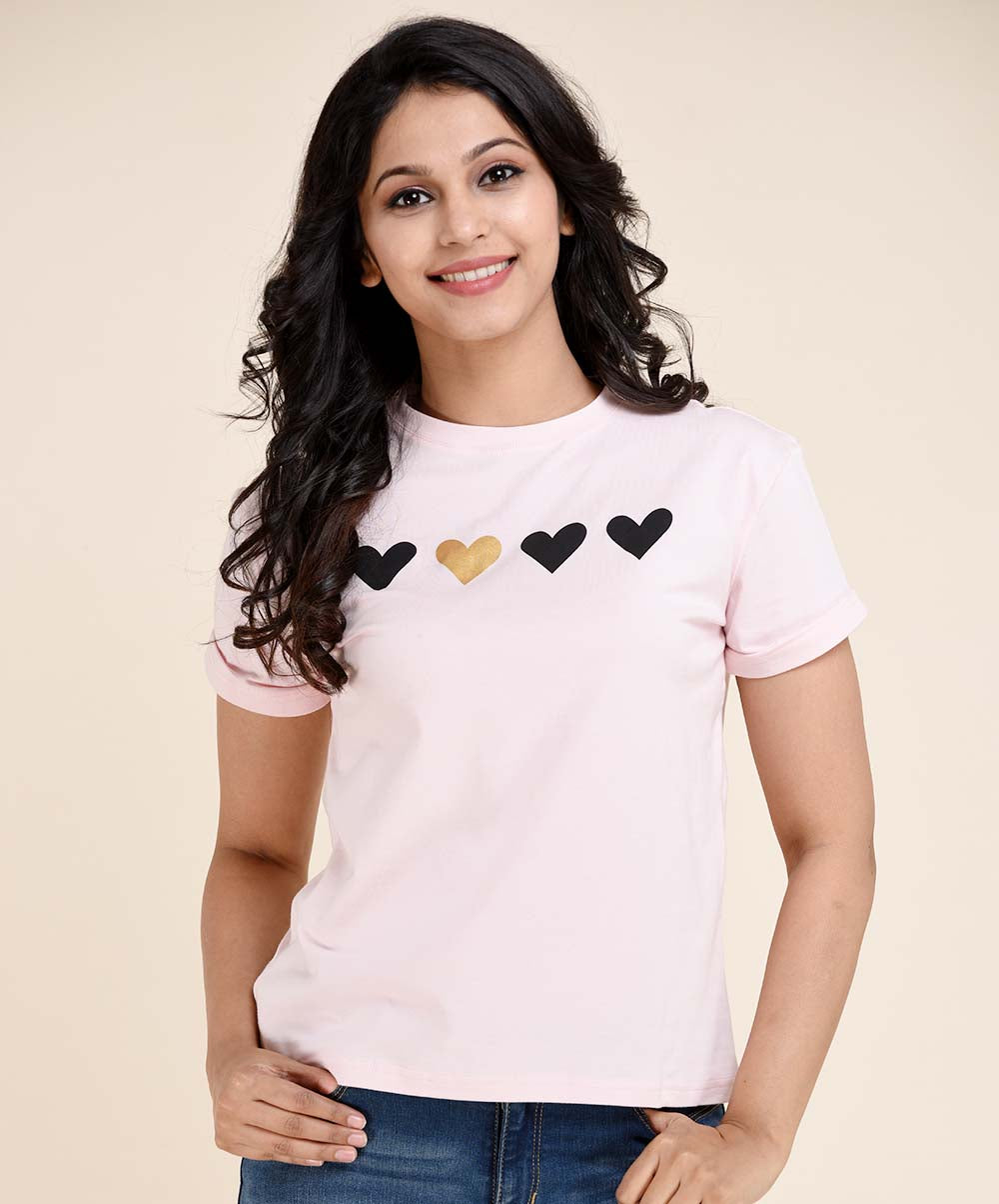 Light Pink Heart Printed Tee
