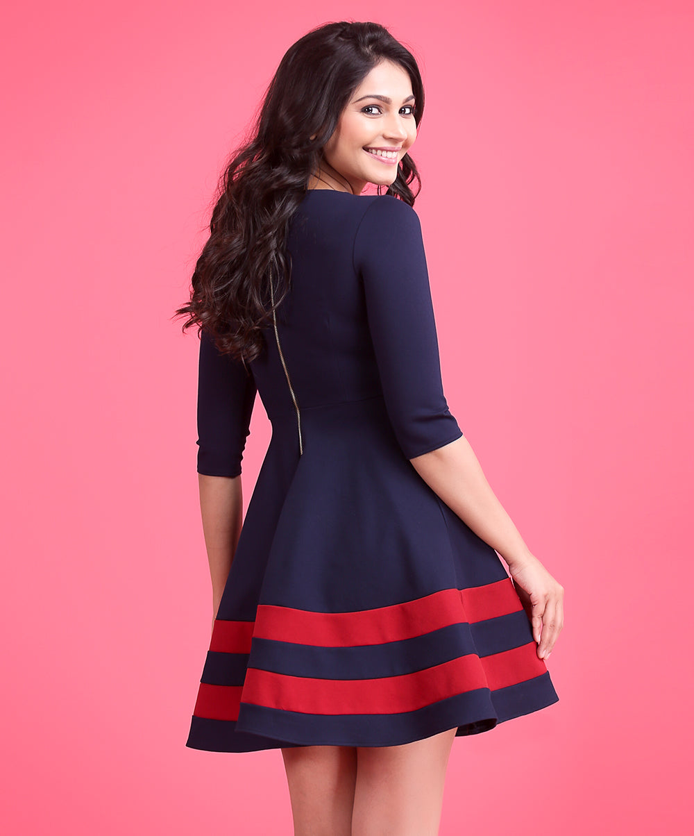 Red And Blue Contrast Dress
