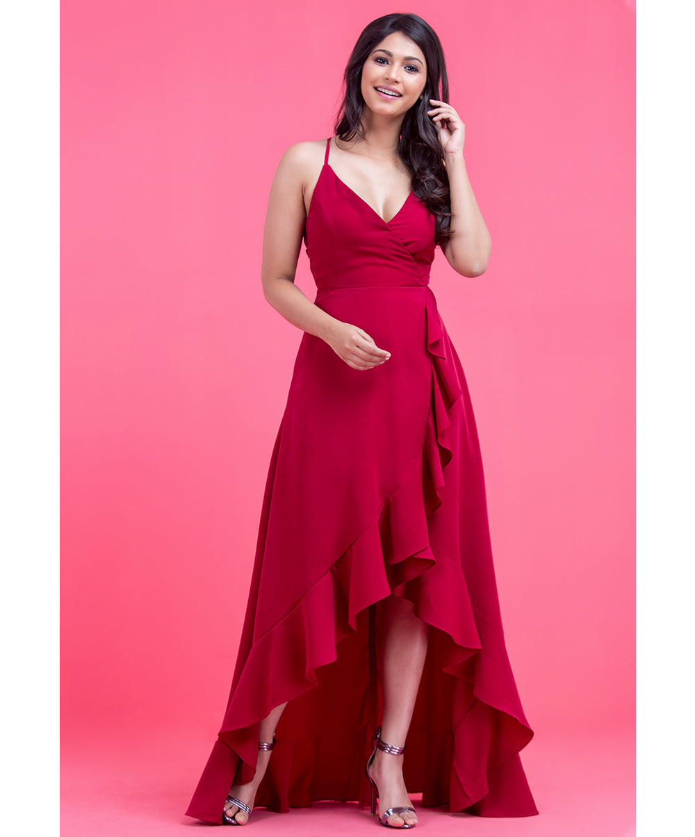 Red Quintia Hem Frill Detail Highlow Dress