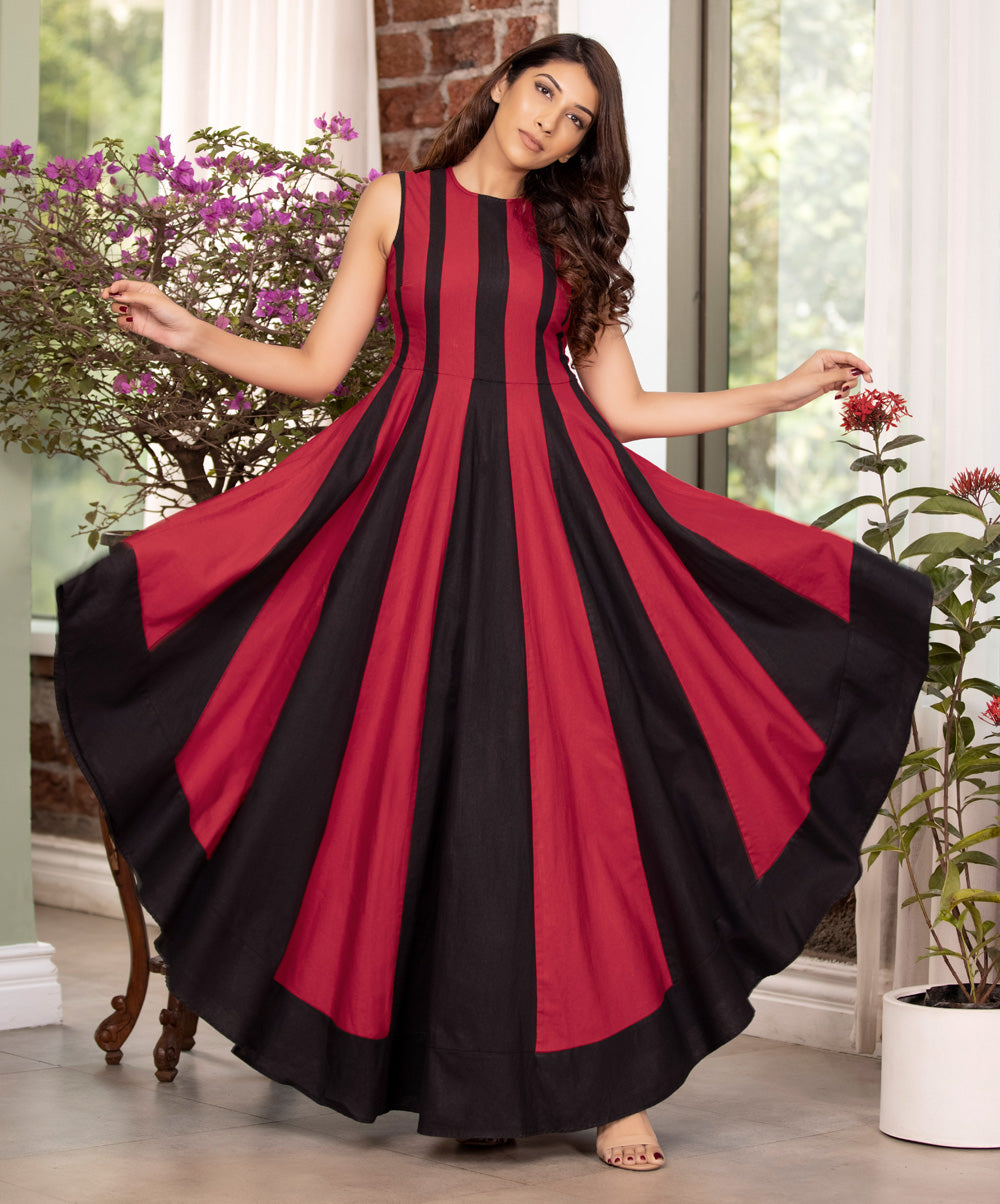 Red And Black Linen Panel Dress