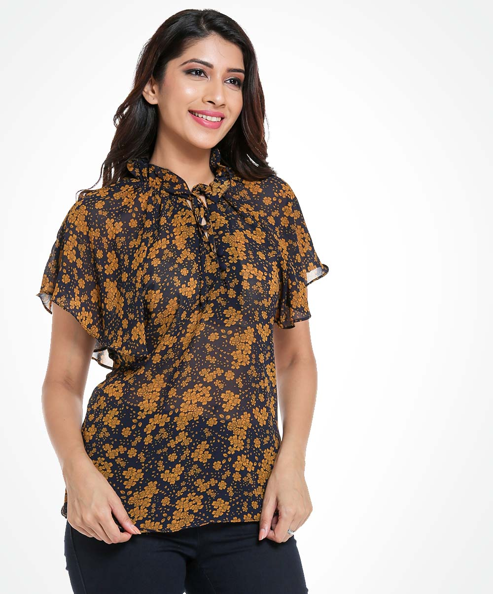 Flared Sleeved Micro Floral Top