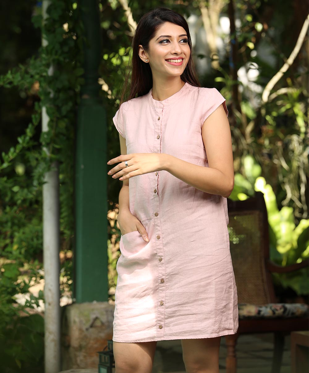 Pastel Pink Linen Buttoned Up Chinese Collar Dress