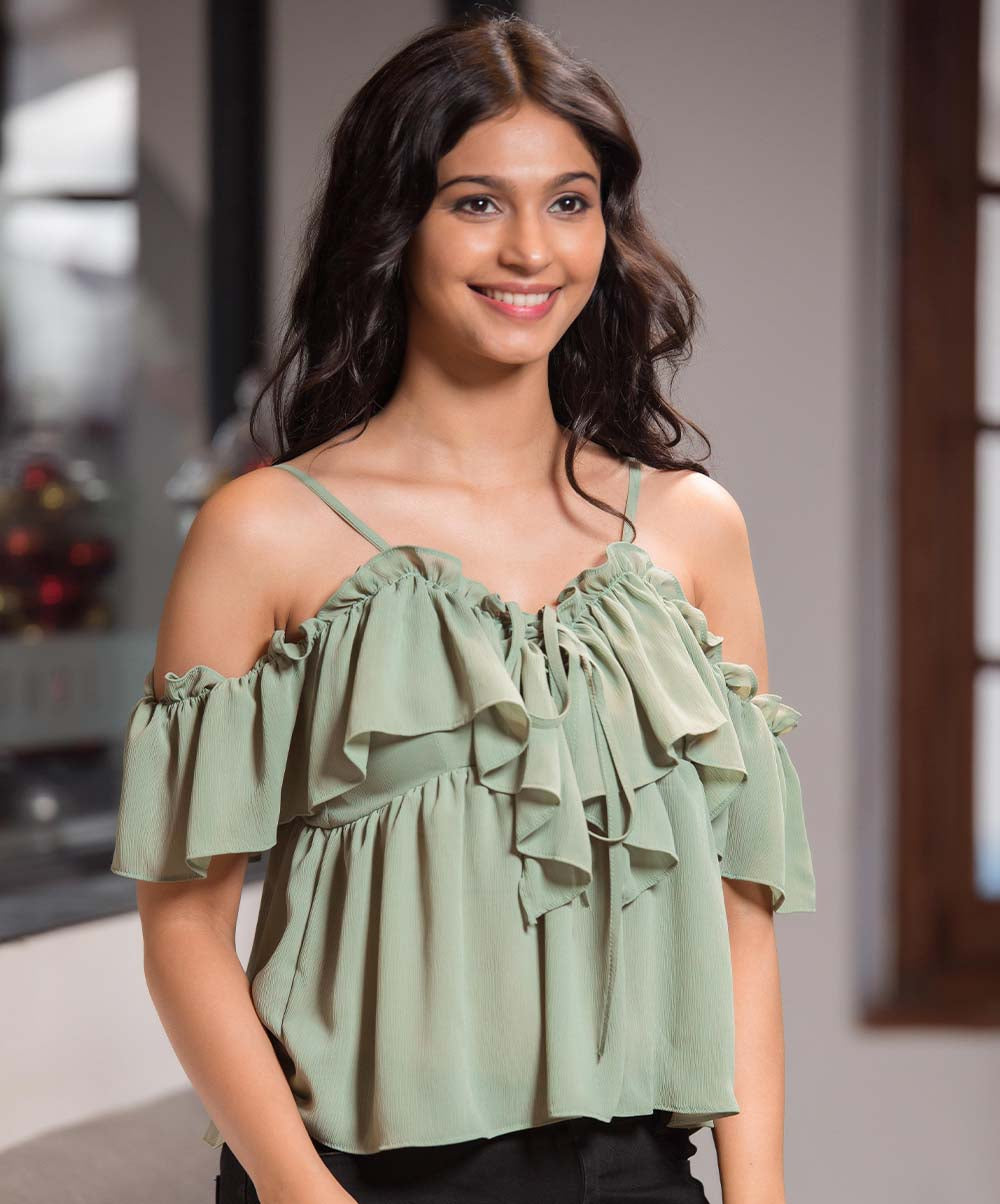 Sage Frilled Strappy Top