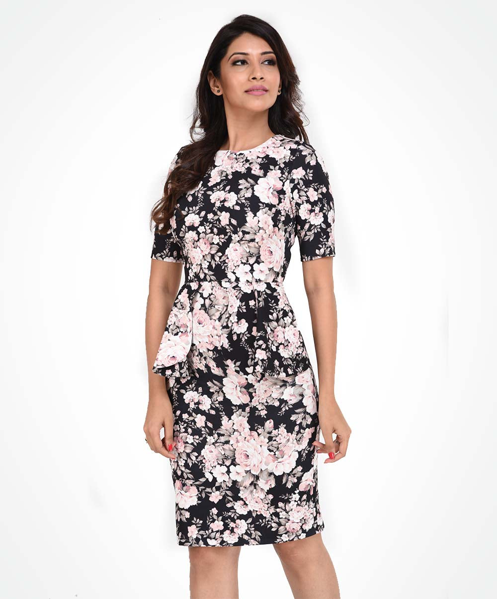 Black Base Rose Printed Workwear Dress