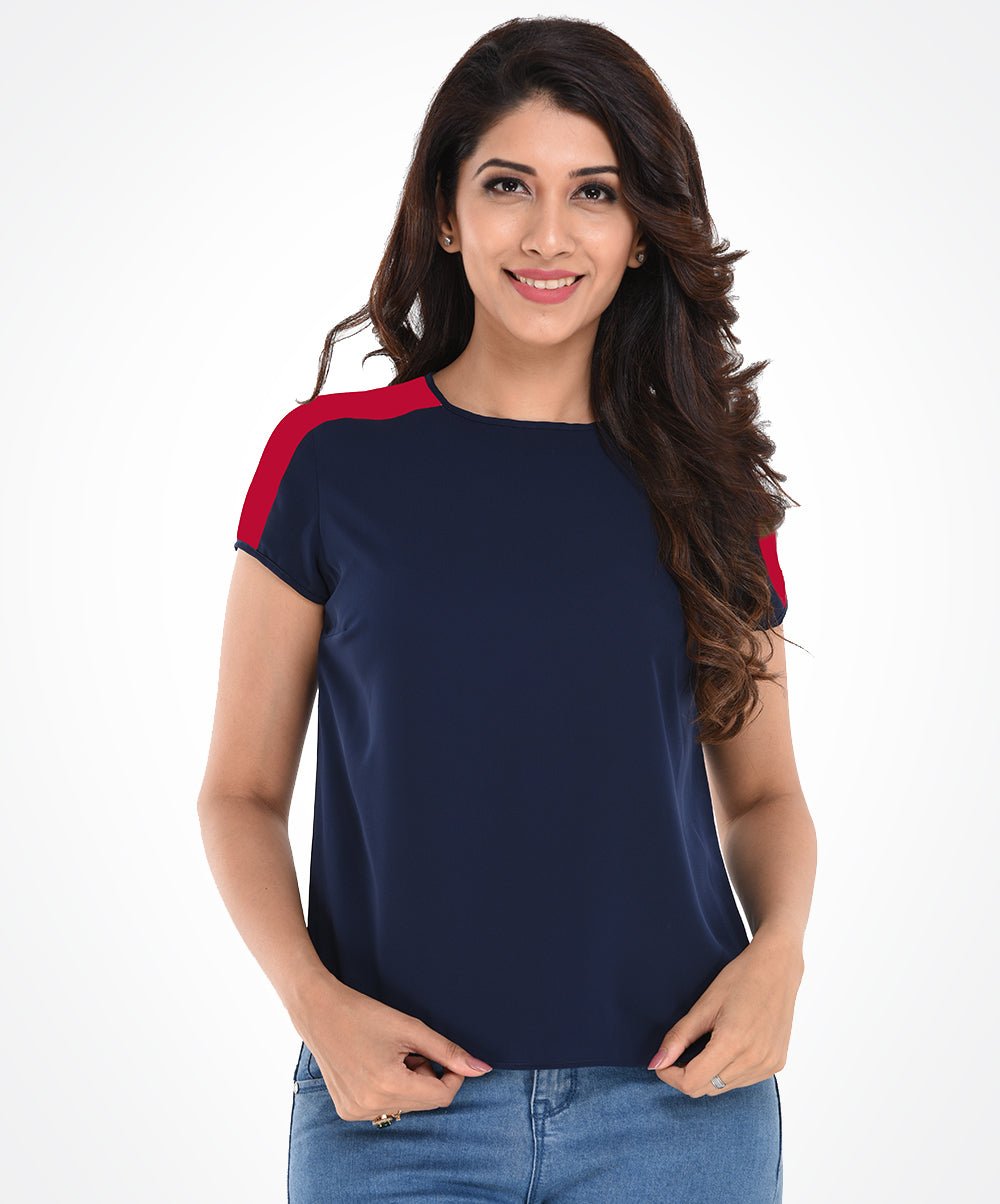 Navy Blue & Red Detailed Top
