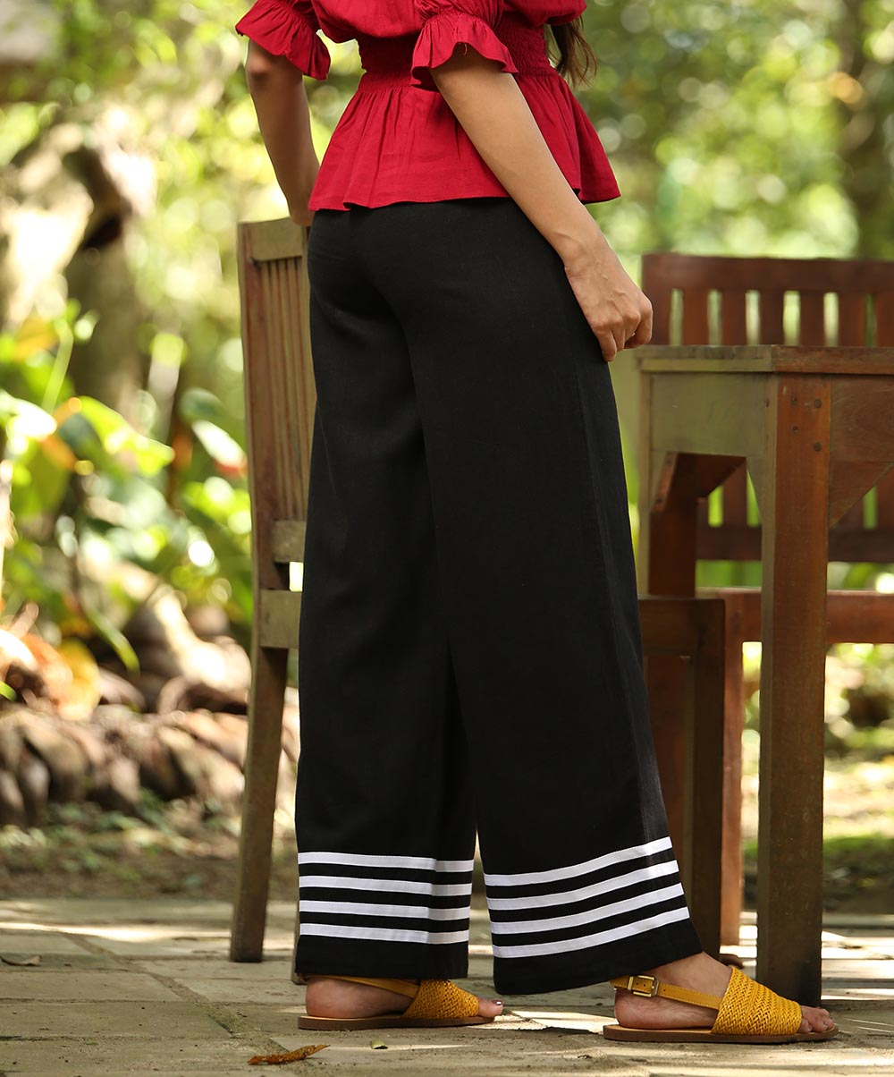 Black Linen Striped Detailed Pant