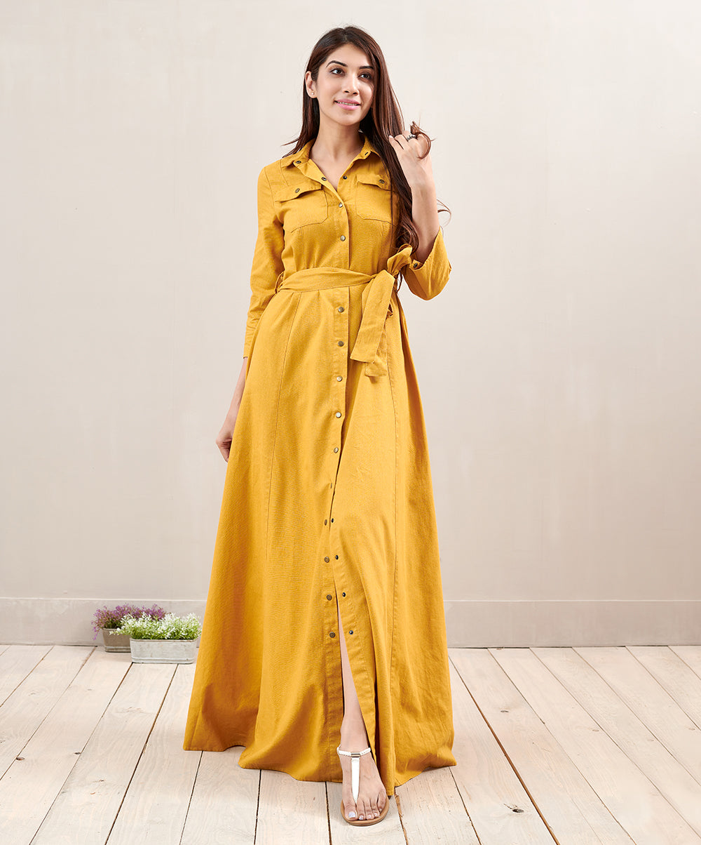 Linen Midi Safari Dress