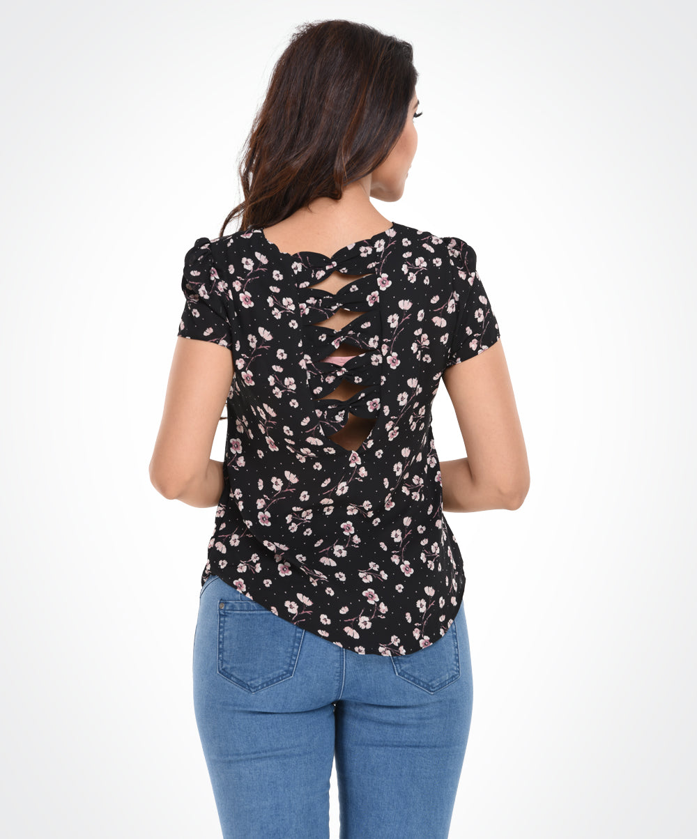 Micro Floral Printed Back Bow Top