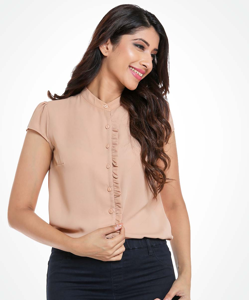 Cap Sleeve Beige Workwear Top
