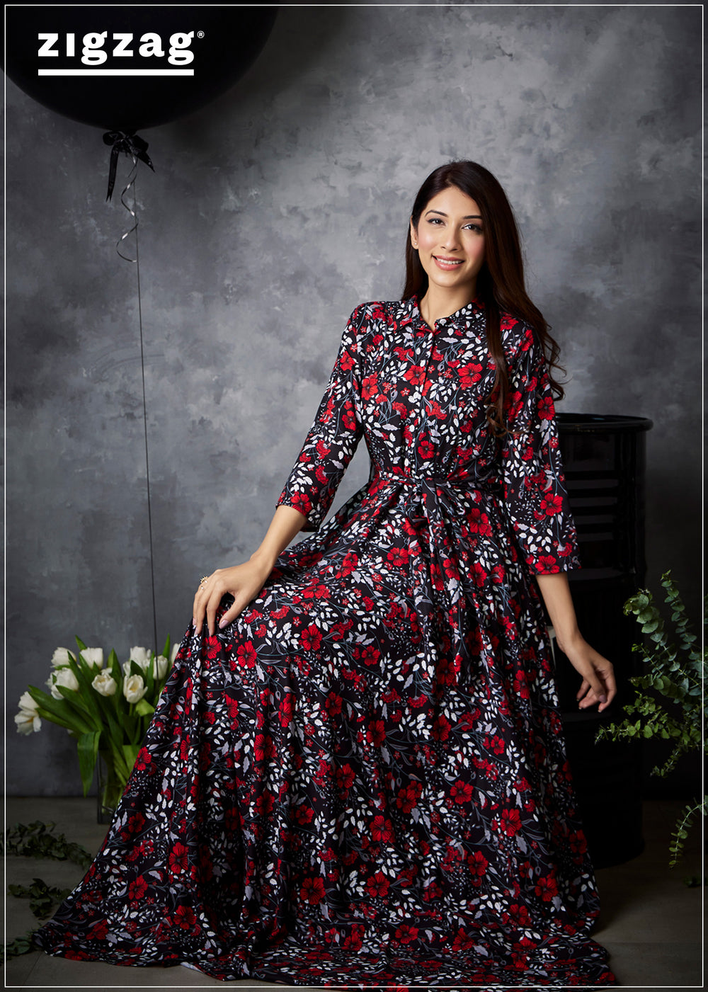 Red And Black Printed Three Quarter Sleeve Maxi