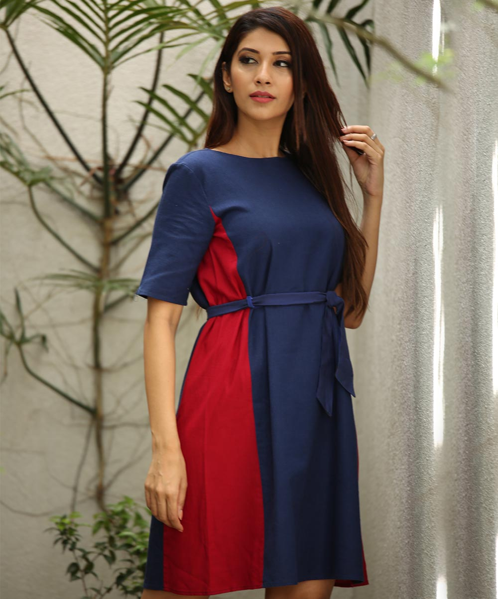 Navy Blue Side Contrast Linen Dress