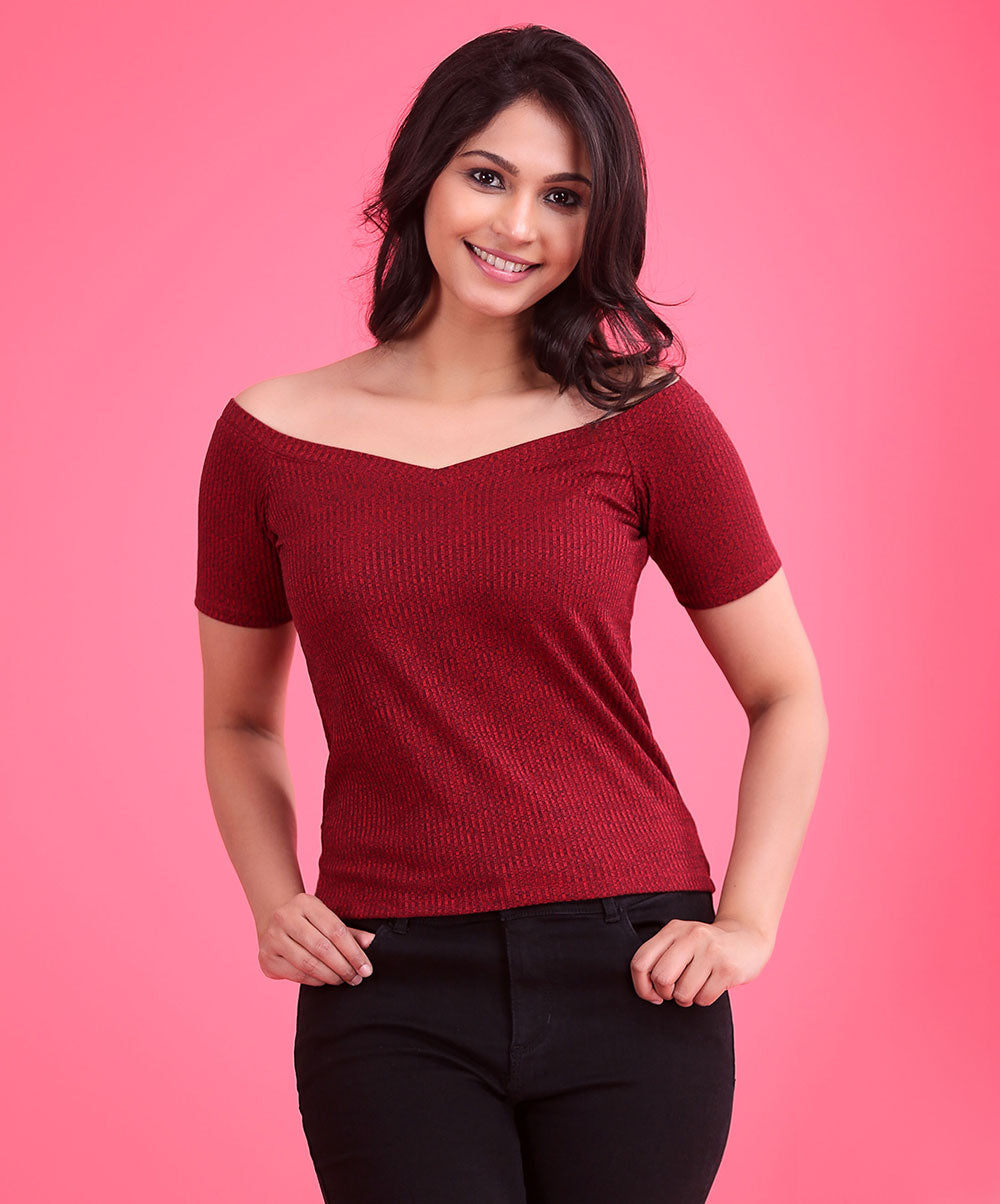 Maroon Rib Basic Top