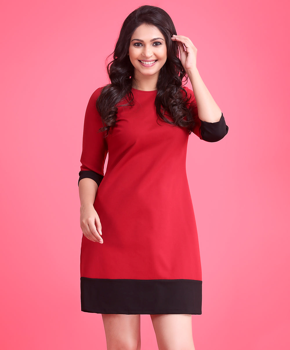 Red Black Contrast Dress