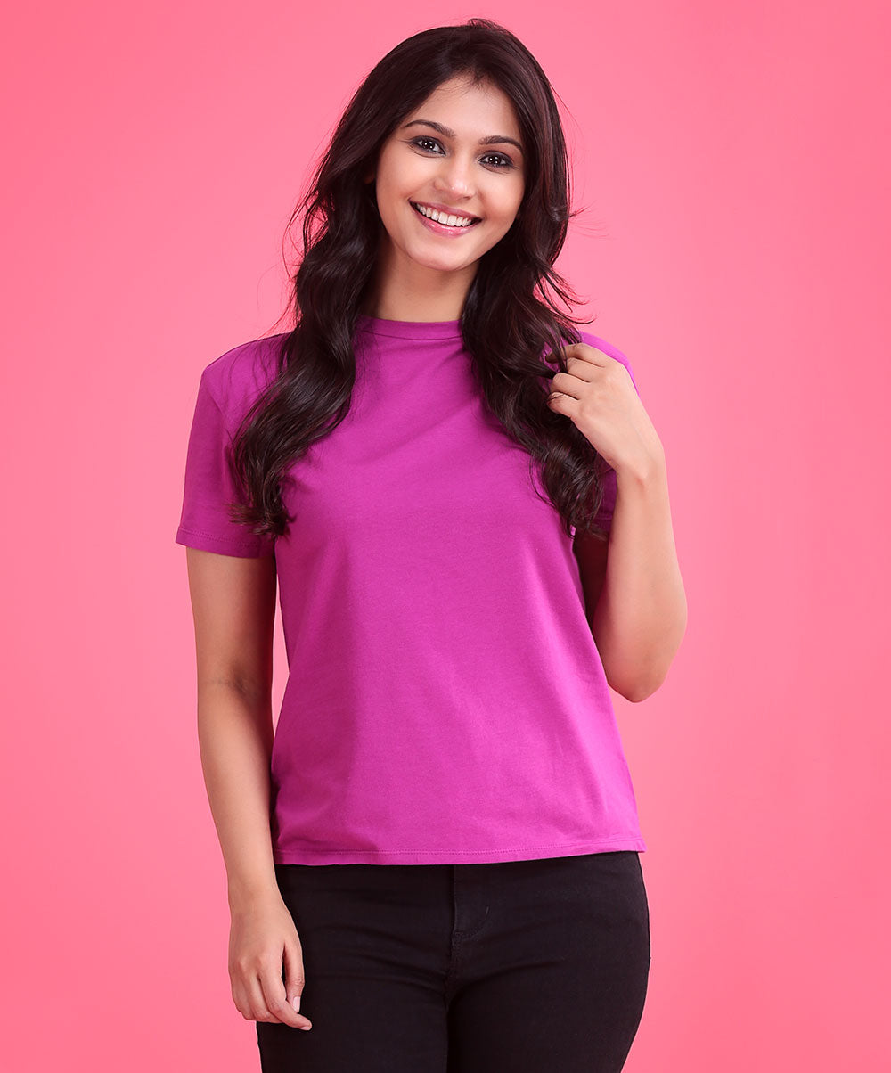 Pink Crew Neck Casual T-Shirt