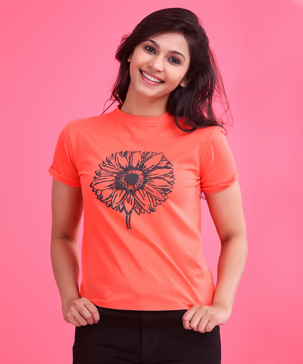 Orange Flower Printed T-Shirt
