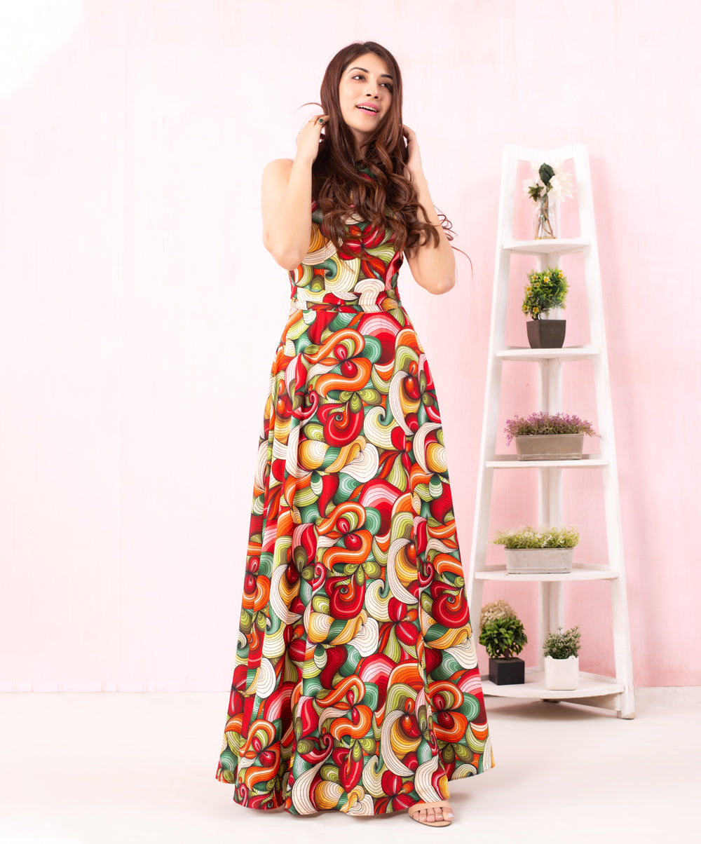 Lined Printed Maxi