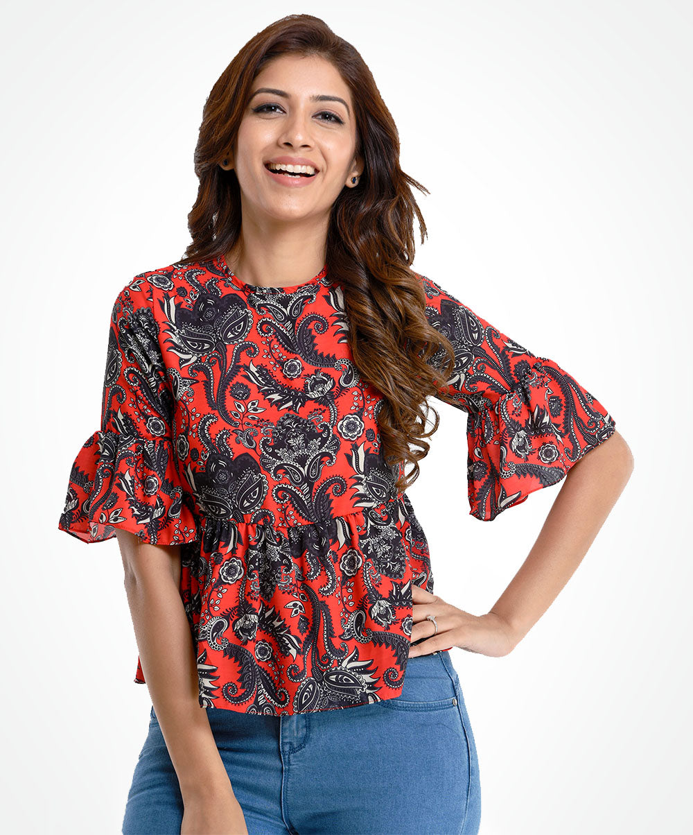 Red Based Printed Flared Top