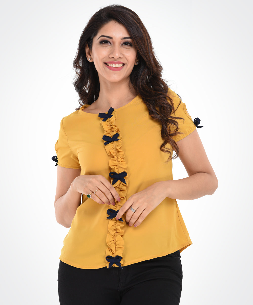 Mustard Yellow Blue Bow Top