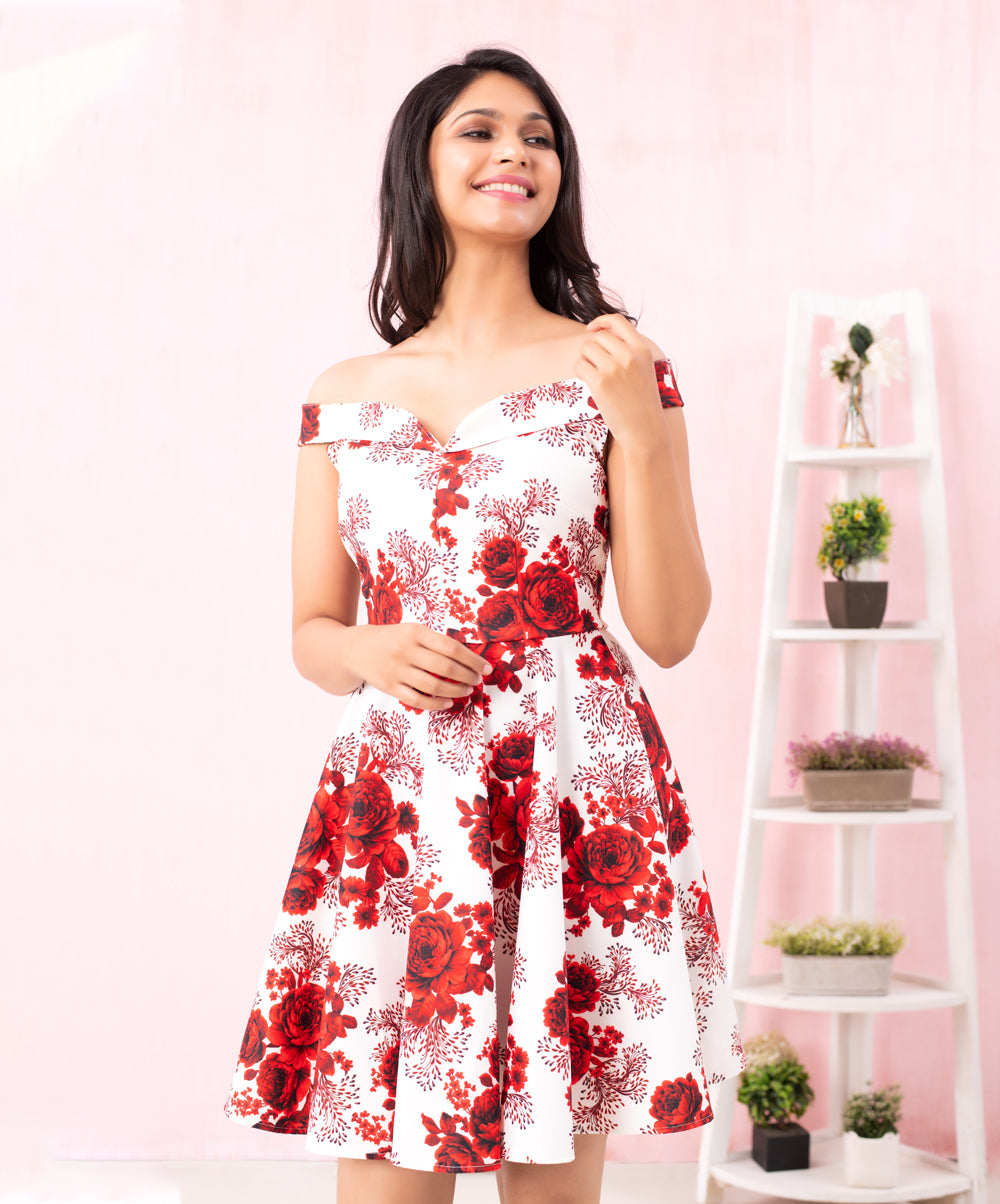Rose Printed Princess Scuba Dress